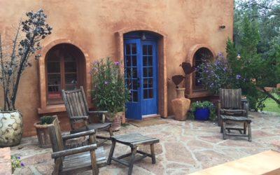 El Rancho Robles blue door patio